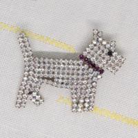 チェコ ガラスラインストーンブローチ テリア犬
