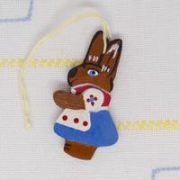ドイツ ウサギのオーナメント 青スカート