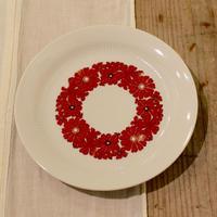 旧東ドイツ 赤いお花のケーキ皿
