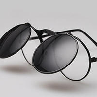 Sunglasses with lens open