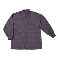 チェック shirt long【purple】