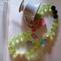 Big beads necklace Green