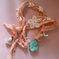 Silk ribbon ネックレス orange