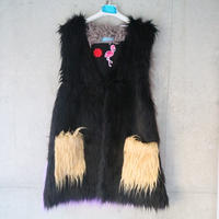 Eco fur short gilet  Bl