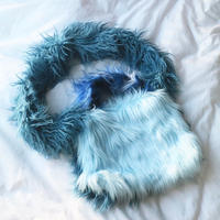 Eco fur  cross body Bag Blue