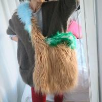 Eco fur cross body Bag Beige