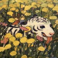 イケガミヨリユキ・リソグラフポスター「花畑」