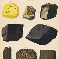 1878年鉱物画①<ドイツ>◆ アンティーク・クロモリトグラフ