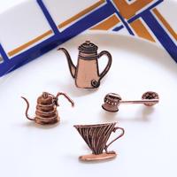 コーヒー好きさんのための珈琲器具のピンバッジ4点セット
