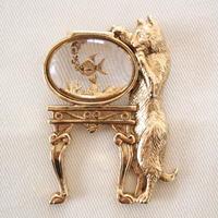 1928 ヴィンテージブローチ 猫と金魚鉢