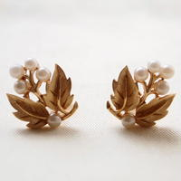 Crown TRIFARI /クラウントリファリ パールと葉っぱのイヤリング  B