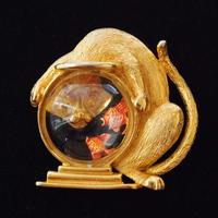 JJ ヴィンテージブローチ 猫と金魚鉢 GOLD 7