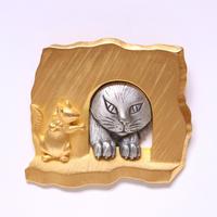 JJ ヴィンテージブローチ 覗く猫とネズミ 2