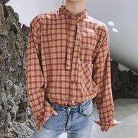 リボンネックシャツ