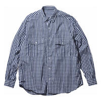 ROLL UP GINGHAM CHECK SHIRT -NAVY-