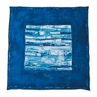 SILK SCARF (PAINT BRUSH) -BLUE-