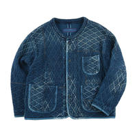 PC KENDO DIAMOND PATTERN PATCHWORK NO-COLLAR JACKET -BLUE-
