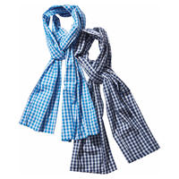 GINGHAM CHECK STOLE -BLUE-