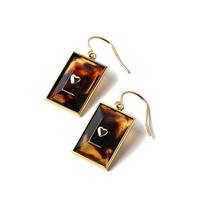 TORTOISE SHELL GOLD EARRING SMALL RECTANGLE(PAIR) -GOLD/鼈甲-