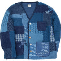 H/W PATCHWORK KNIT CARDIGAN -BLUE-