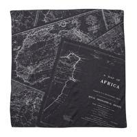 SOFT COTTON SCARF (MAP) -BLACK-
