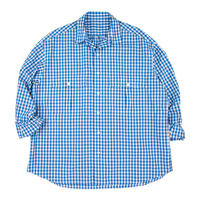 ROLL UP TRICOLOR GINGHAM CHECK SHIRT -BLUE-