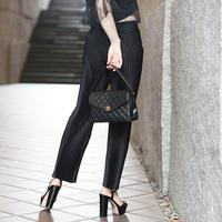 【pour Mademoiselle】シフォンプリーツパンツ ブラック