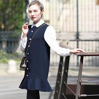 【pour Mademoiselle】パールボタンワンピース ネイビー