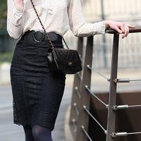 【pour Mademoiselle】レースタイトスカート ブラック