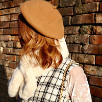 【pour Mademoiselle】ウールベレー帽  ベージュ/ブラック