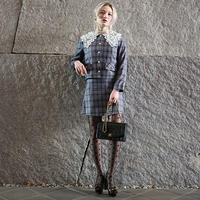 【pour Mademoiselle】チェックデザインカラージャケット&スカートセットアップ