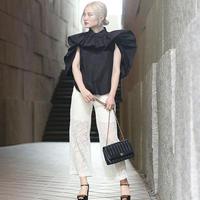 【pour Mademoiselle】フラワーレースパンツ ブラック/ホワイト