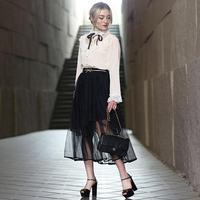 【pour Mademoiselle】チュールレースサロペットスカート ブラック