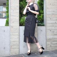 【pour Mademoiselle】シフォンタイトスカート ブラック