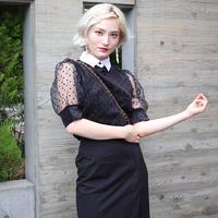 【pour Mademoiselle】ドットシースルーショートスリーブプルオ ーバー ブラック