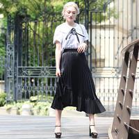 【pour Mademoiselle】アシンメトリーハイウエストプリーツスカート ブラック/ホワイト