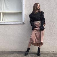 シャーリングタイトスカート ベージュ/ブラック/レッド