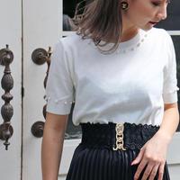 【pour Mademoiselle】パールニットTシャツ ホワイト