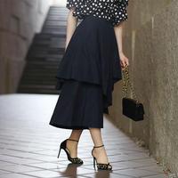 【pour Mademoiselle】アシンメトリースカート ネイビー