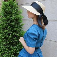 【pour Mademoiselle】リボンカプリーヌハット ベージュ/ブラック