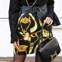【VINTAGE APPAREL 2019 SS】リボンパターンデザインスカート ブラック/イエロー
