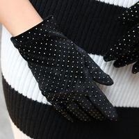 【pour Mademoiselle】ベロアドットグローブ ブラック