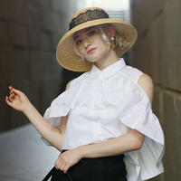 【pour Mademoiselle】フリルノースリーブシャツ
