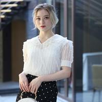 【pour Mademoiselle】フリルレースプルオーバー ブラック/ホワイト