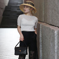 【pour Mademoiselle】フリルドットプルオーバー ホワイト/ベージュ