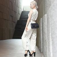 【pour Mademoiselle】ウエストリボンオールインワン ブラック/ベージュ