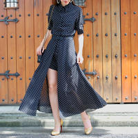 【SUMMER COLLECTION】オールインワン スカートベルト付き ブラック