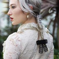 【pour Mademoiselle】レースリボンヘアバレッタ ブラック