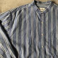 EDDIE BAUER ノーカラーストライプシャツ