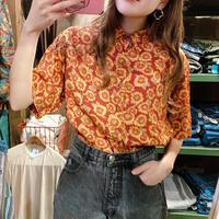 カナダ製ひまわり柄レーヨンシャツ